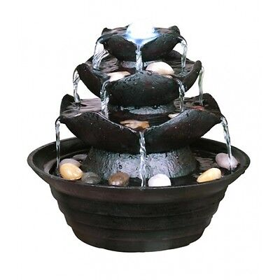 3 Tier Multi Fall Indoor Tabletop Water Feature with White LED Lights