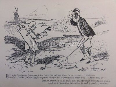 Golf Theme CADDIE - GRAMOPHONE CHARGED WITH EXPLETIVES.... Antique Punch Cartoon