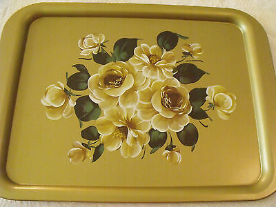 """Advertising TRAY(s) Vtg NOS Gold Metal Tole DUFFYS Florals Roses 12 3/4""""x17 1/4"""""""