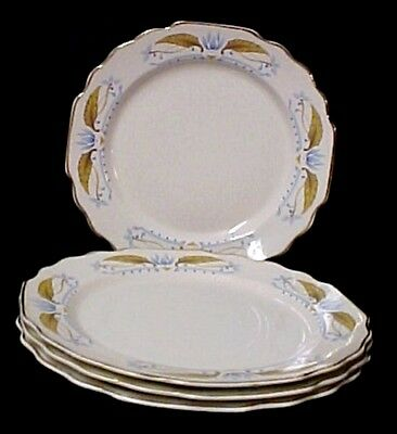 Vintage W S George Lido Off White Gold Blue Leaf 4 Salad Plates Collectibles USA
