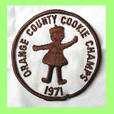 1971 COOKIE SALE PATCH Girl Scouts, Vintage, Orange County Champs Very RARE