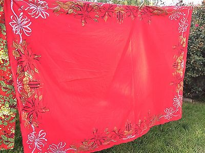 VINTAGE RED CHRISTMAS TABLECLOTH WITH SILVER & GOLD RIBBONS/CANDLES/POINSETTIAS