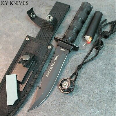 "10.5"" Military Style GUTHOOK Survival Hunting Knife With Sheath & Kit 5820 zix"