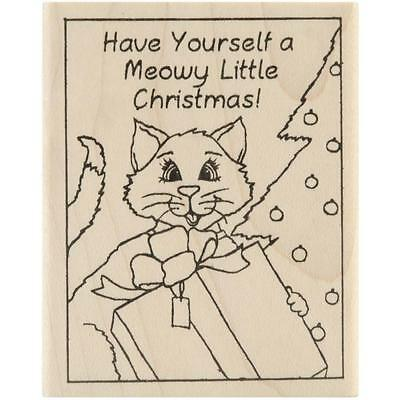 INKY ANTICS RUBBER STAMPS CAT CHRISTMAS GIFT STAMP