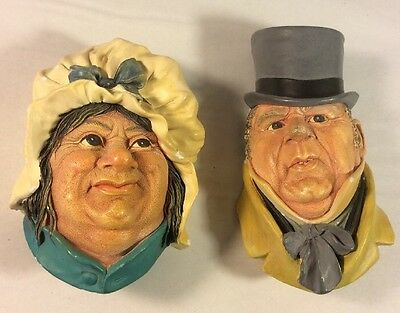 Bossons Head England Chalkware Sarah Gamp & Mr. Micawber Wall Plaque Vintage