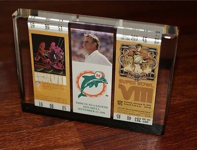 DON SHULA - 9/12/96 DOLPHINS Tribute to a Legend - SB VII & VIII LUCITE Tickets