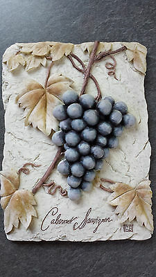 3D Wine Vineyard Theme Wall Hanging Plaque Cabernet Sauvignon Purple Grape Vines