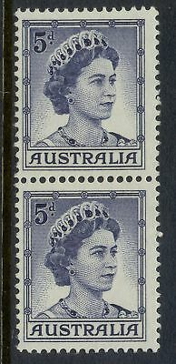 Stamps 5d blue 1959 QE2 definitive issue in coil perforated pair MUH