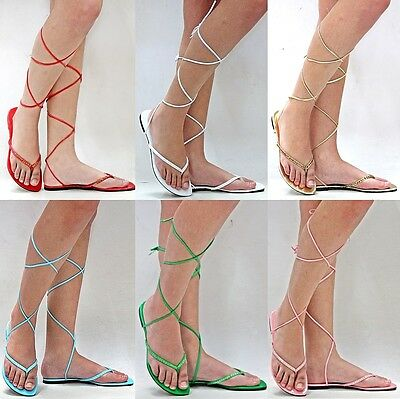 02ce4de57 NEW WOMENS XCH3 White Gold Silver Beaded Gladiator Wrap Lace Up Flat ...