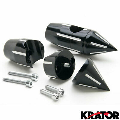 "New Universal Custom Motorcycle Spike Black Handle Bar Risers 1"" hole diameter"