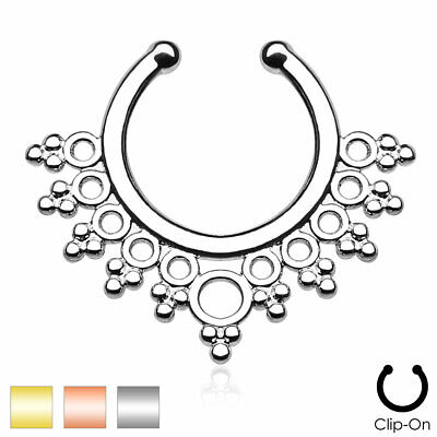 Fake  Non Pierced Filigree Lacey Bead Septum Hanger Nose Ring Rhodium  Plated