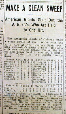1914 newspaper w NEGRO LEAGUE BASEBALL team Rube Foster CHICAGO AMERICAN GIANTS