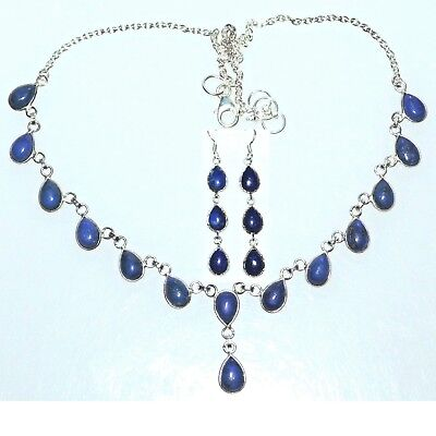 Sterling SILVER SET Blue Lapis Necklace Earrings, Genuine Gemstone 925 Jewellery