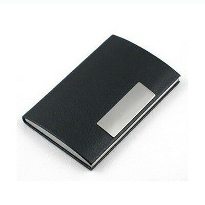 New Black Pocket Leather Metal Business ID Credit Card Holder Case Wallet OK