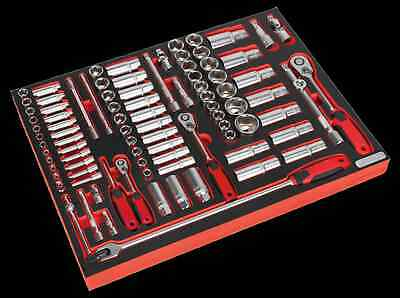 """Sealy Tool Tray with Socket Set 91pc 1/4"""", 3/8"""" & 1/2""""Sq Drive TBTP02"""
