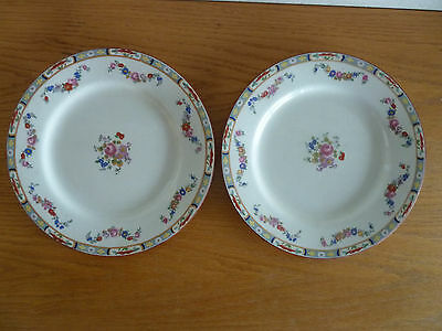 Meakin The Margate  2 Dinner Plates  Blue Scrolls/Flowers