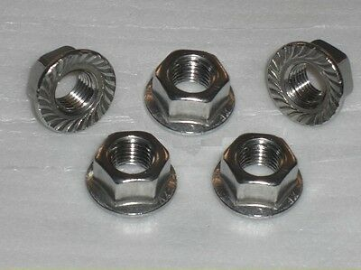 5x Stainless Steel M7 FLANGE Nuts 1.0mm pitch VESPA LAMBRETTA SCOOTER