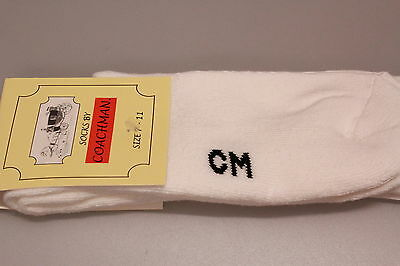 2 Pairs Men's Coachman Socks White Padded Foot Bed Sole Stretch Cotton Mix 7-11