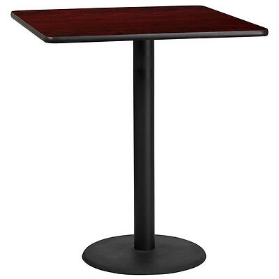 36'' Square Mahogany Laminate Table Top With 24'' Round Bar Height Base