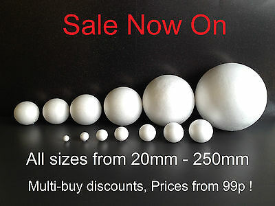 Solid Polystyrene Balls craft floral cake sweet tree decoration 20mm to 250mm