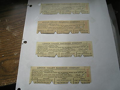 Four Lehigh Valley Railroad Company Ticket Stubs Old Trains Passes