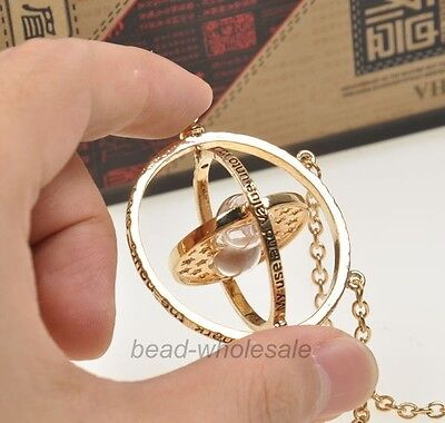 Harry Potter Time Turner Gold Necklace Hermione Granger Rotating Spins Hourglass
