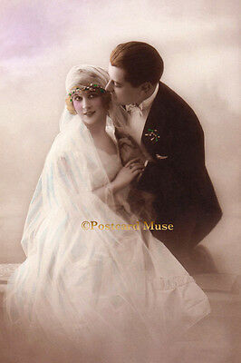 ART DECO WEDDING COUPLE Vintage Postcard Image Photo, Blank Card Or Print CP032
