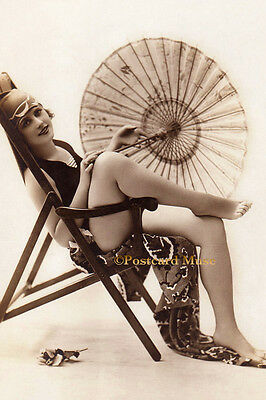 BATHING BEAUTY,PARASOL Vintage Postcard Image Photo, Blank Card Or Print BB016