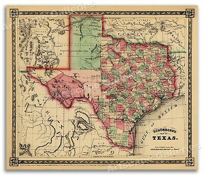 1866 Schönberg's Map of Texas Historic Map 24x28