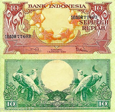 INDONESIA 10 Rupiah Banknote World Currency Money BILL Asia Note p66 aUNC Birds