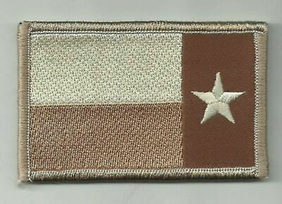 """2"""" x 3 1/8"""" Reverse Desert Tan Texas State Flag Lone Star State Morale Patch"""