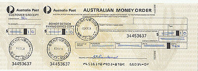 Postmark BENCUBBIN Western Australia on 1981 money order form butt attached