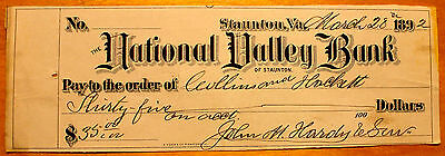 1892 National Valley Bank of Staunton VA Cancelled Check
