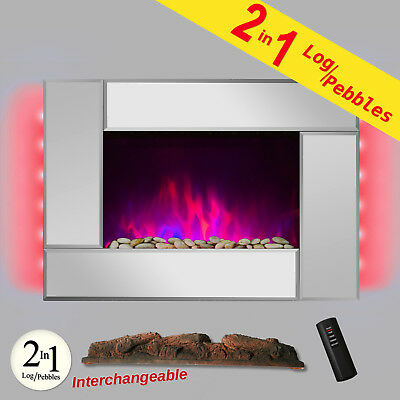 """36"""" Wall Mount Style 2 Setting Adjustable Electric Fireplace Log & Pebble 2-in-1"""