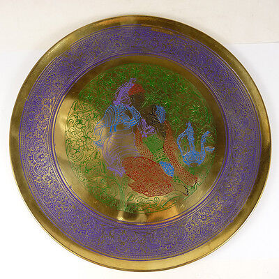 handwork china old copper collectible plate handcarved people flowers OT45P37