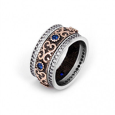 925 Sterling Silver Dual Tone Vintage Ring With Blue CZ Stones Women Men Jewelry