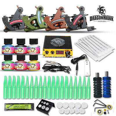 Complete Tattoo Kit 4 Machine Gun Equipment Power Supply 40 Color Ink D120GD