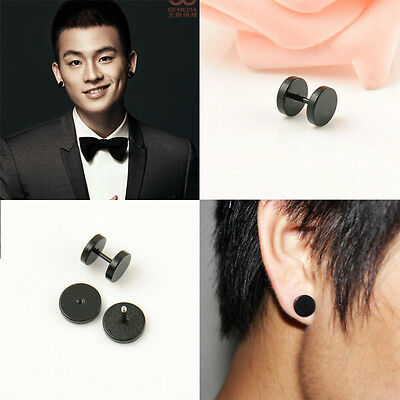2PCS Men Stud Earrings Titanium Steel Ear Punk Black Circular Dumbbell 4 Sizes