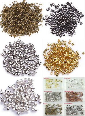 2mm 1000pcs Jewelry Findings Tube Crimp End Spacer Beads DIY 6 Color