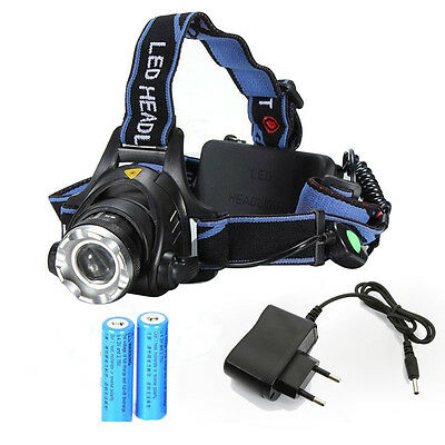 8000LM XM-L T6 Zoomable Focus LED Headlight Head Lamp + 2Pcs 18650 + Charger EU