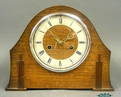 English Art Deco Smiths Enfield Oak Mantel Clock 1930s