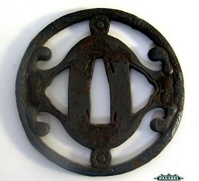 Antique Japanese Iron Samorai Sword Tsuba 19th Century