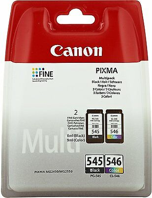 Genuine Canon PG-545 Black & CL-546 Colour ink cartridges for PIXMA 2450 2550
