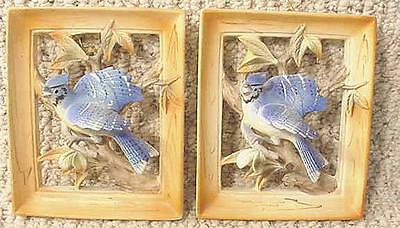 Pair 1962 Napco Japan BLUE JAY Bird Wall Plaques