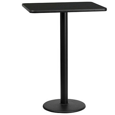 24'' X 30'' Rectangular Black Laminate Table Top With 18'' Round Bar Height Base