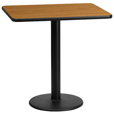 24'' X 30'' Rectangular Natural Laminate Table Top With 18'' Round Table Ht Base