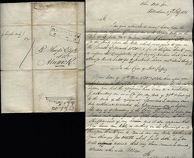 1821 COLDSTREAM p/m Letter BLUE BELL INN at PALLINSBURN to Thorp of Alnwick