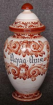 """LOVELY HAND PAINTED ITALIAN """"AQUA ANISI"""" GINGER JAR APOTHECARY JAR COVERED URN"""