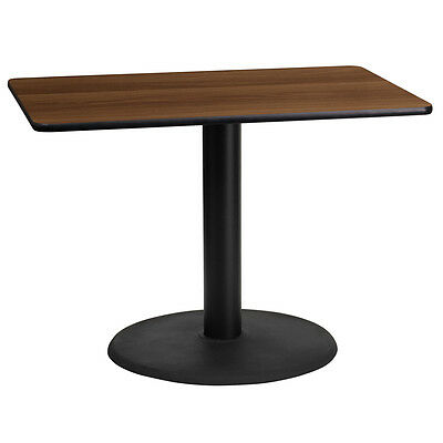 24'' X 42'' Rectangular Walnut Laminate Table Top With 24'' Round Table Ht Base