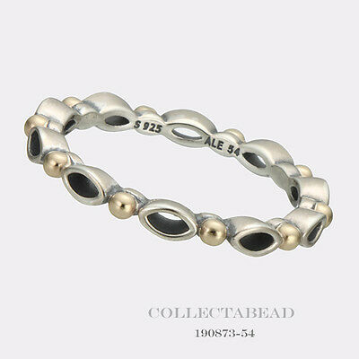 Authentic Pandora Silver & 14K Gold Always And Forever Ring Size (7) 54 190873